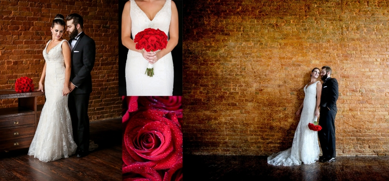 red roses and brick bride