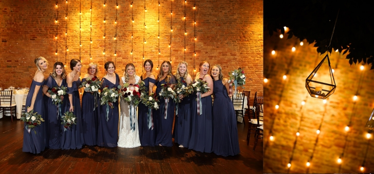 wedding party at a rustic brick building